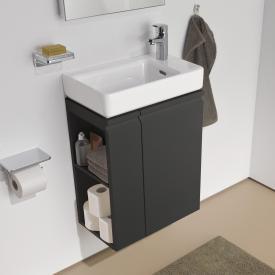Laufen Pro S Handwaschbeckenunterschrank mit 1 Tür und Seitenablage Front graphit / Korpus graphit