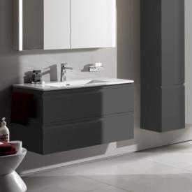Laufen Pro S Waschtisch mit Waschtischunterschrank mit 2 Auszügen Front graphit / Korpus graphit, mit 1 Hahnloch