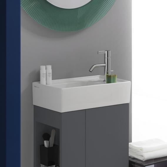 Kartell by Laufen Handwaschbecken, mit verdecktem Ablauf weiß, mit Clean Coat, mit 1 Hahnloch