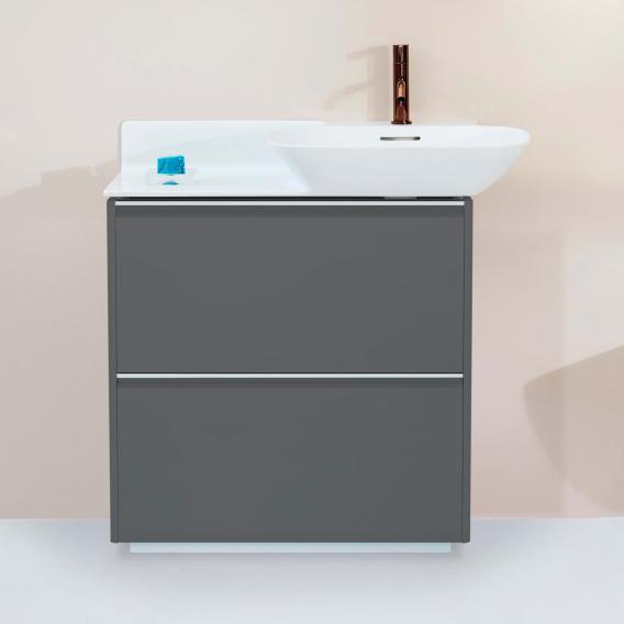 Laufen Base für INO Waschtischunterschrank mit 2 Auszügen Front verkehrsgrau / Korpus verkehrsgrau, Griffleiste aluminium