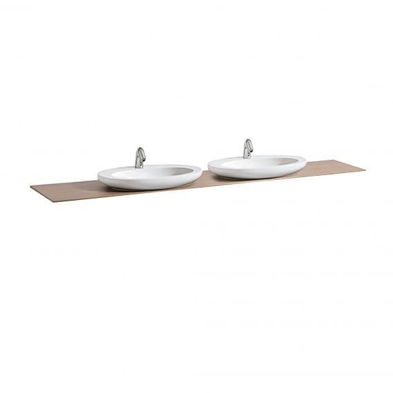 LAUFEN IL BAGNO ALESSI One Waschtischplatte mit zwei Ausschnitten Beckenausschnitte mittig, noce canaletto