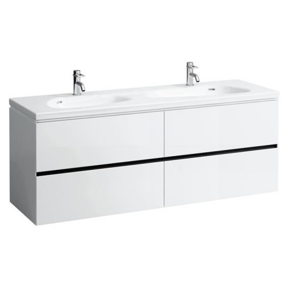Laufen Palomba Doppelwaschtisch mit Waschtischunterschrank mit 4 Auszügen weiß, mit Clean Coat, mit 2 Hahnlöchern, mit Überlauf