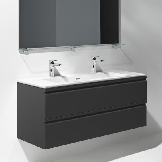 LAUFEN Pro S Waschtisch mit Waschtischunterschrank mit 2 Auszügen Front graphit / Korpus graphit, mit 2 Hahnlöchern