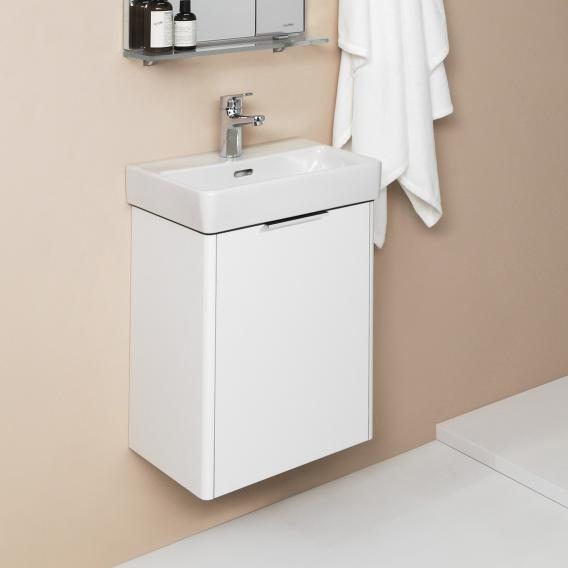 Laufen Pro S Handwaschbecken mit Waschtischunterschrank mit 1 Tür Front weiß glanz / Korpus weiß glanz, WT weiß, mit Clean Coat, mit 1 Hahnloch, mit Überlauf
