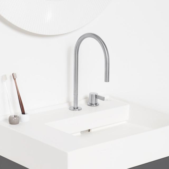 Kartell by Laufen 2-Loch Einhebel-Waschtischmischer ohne Ablaufgarnitur edelstahl gebürstet, ohne Ablaufgarnitur
