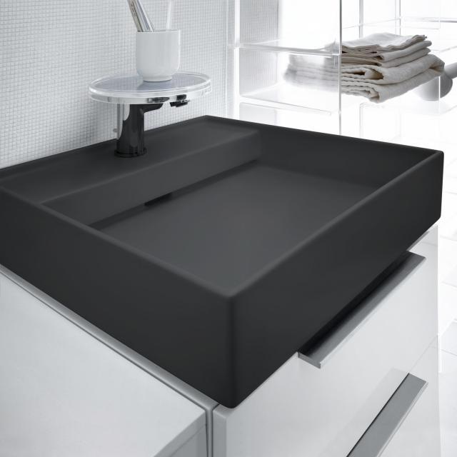 Kartell by Laufen Handwaschbecken, mit verstecktem Ablauf graphit matt, mit 1 Hahnloch