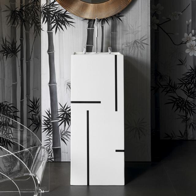 Kartell by LAUFEN Waschtisch, freistehend weiß/schwarz, mit 3 Hahnlöchern