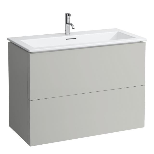Kartell by Laufen Waschtisch mit Waschtischunterschrank mit 2 Auszügen Front kieselgrau / Korpus kieselgrau