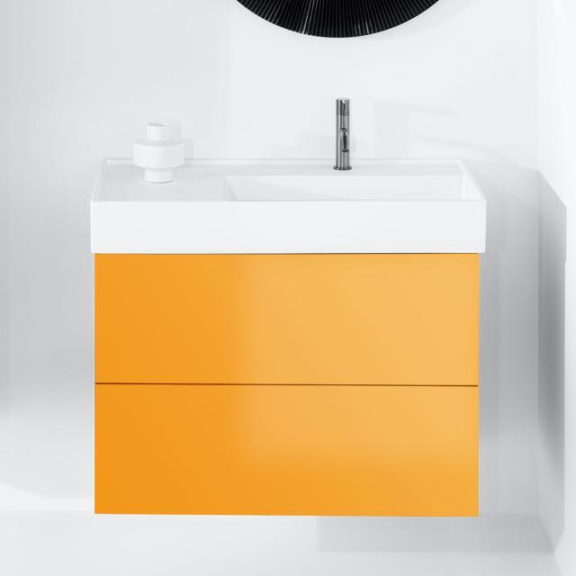 Kartell by LAUFEN Waschtischunterschrank mit 2 Auszügen Front ockerbraun / Korpus ockerbraun