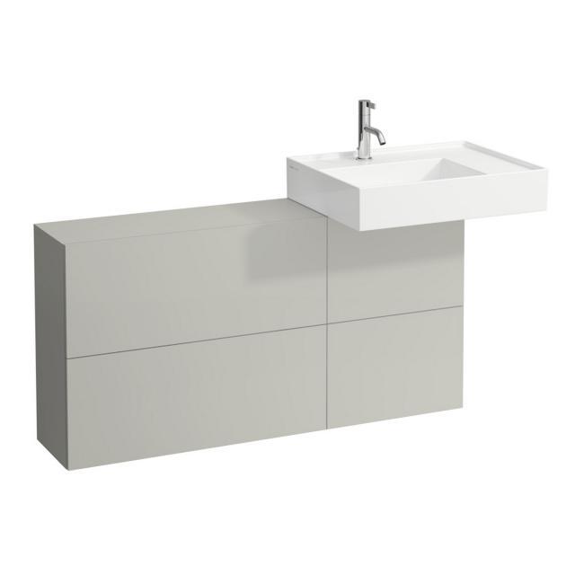 Kartell by Laufen Waschtischunterschrank mit Sideboard, 1 Tür und 2 Klappen Front kieselgrau / Korpus kieselgrau, Waschtisch rechts
