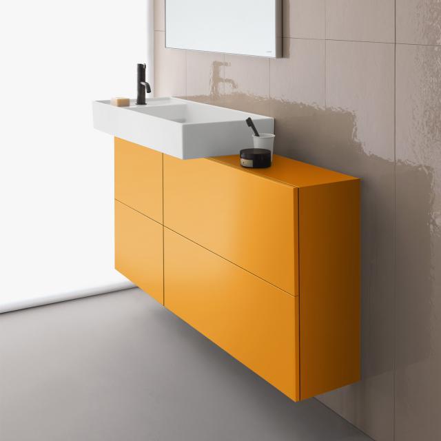 Kartell by LAUFEN Waschtischunterschrank mit Sideboard, 1 Tür und 2 Klappen Front ockerbraun / Korpus ockerbraun, Waschtisch links