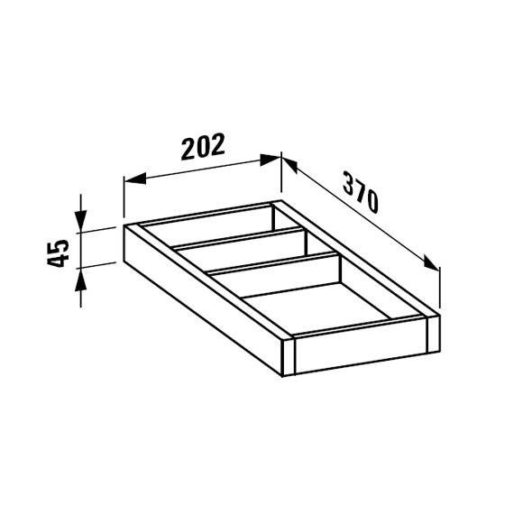 LAUFEN Alessi One Ordnungssystem B: 20,2 H: 4,5 T: 37 cm für Schubladen T: 50 cm, klein Noce Canaletto