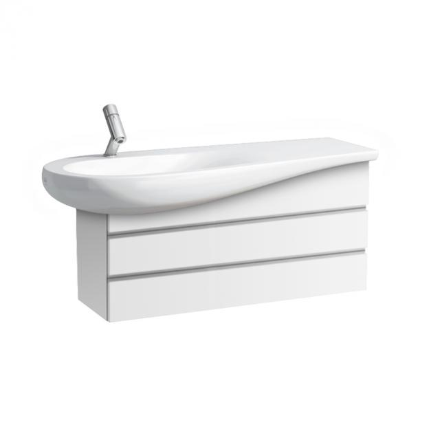 LAUFEN Alessi One Waschtisch mit Waschtischunterschrank mit 2 Auszügen weiß, mit Clean Coat, mit 1 Hahnloch, mit verdecktem Überlauf