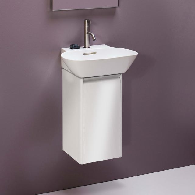 LAUFEN Base für INO Waschtischunterschrank mit 1 Tür Front weiß glanz / Korpus weiß glanz, Griffleiste aluminium