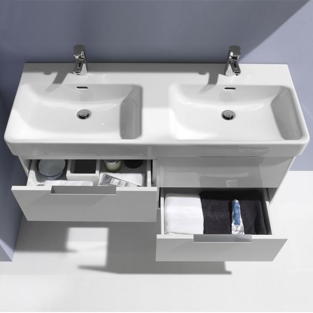LAUFEN Base für Pro S Waschtischunterschrank für Doppelwaschtisch mit 4 Auszügen Front weiß glanz / Korpus weiß glanz