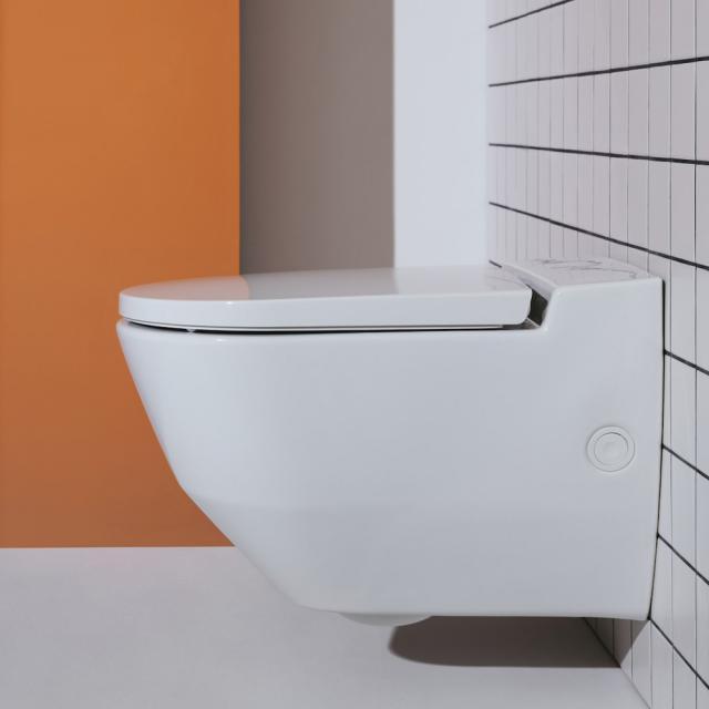 Laufen Cleanet Navia Dusch-WC Komplettanlage, mit seitlicher Öffnung für externen Wasseranschluss, mit WC-Sitz weiß, mit Clean Coat