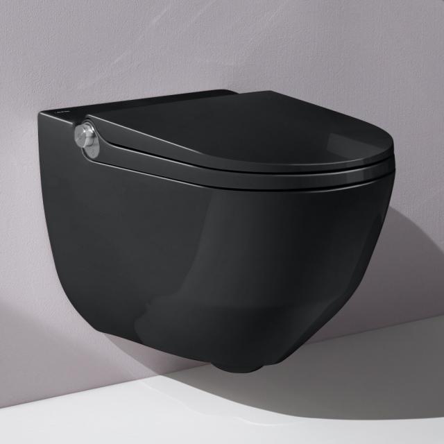 Laufen Cleanet Riva Dusch-WC Komplettanlage, mit WC-Sitz schwarz mit Clean Coat