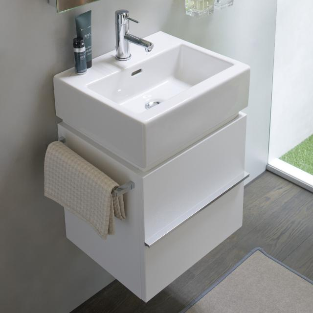 LAUFEN Living City Waschtisch mit Waschtischunterschrank mit 2 Auszügen weiß, mit 1 Hahnloch
