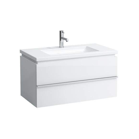 Laufen Living Square Waschtisch mit Case Waschtischunterschrank mit 2 Auszügen weiß, mit 1 Hahnloch