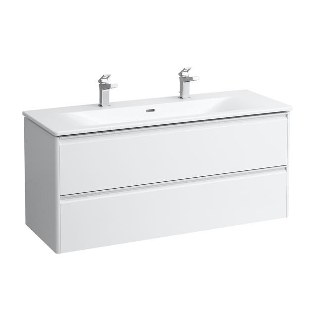 LAUFEN Palace Doppelwaschtisch mit Base Waschtischunterschrank mit 2 Auszügen Front weiß matt / Korpus weiß matt, Griffleiste silber eloxiert