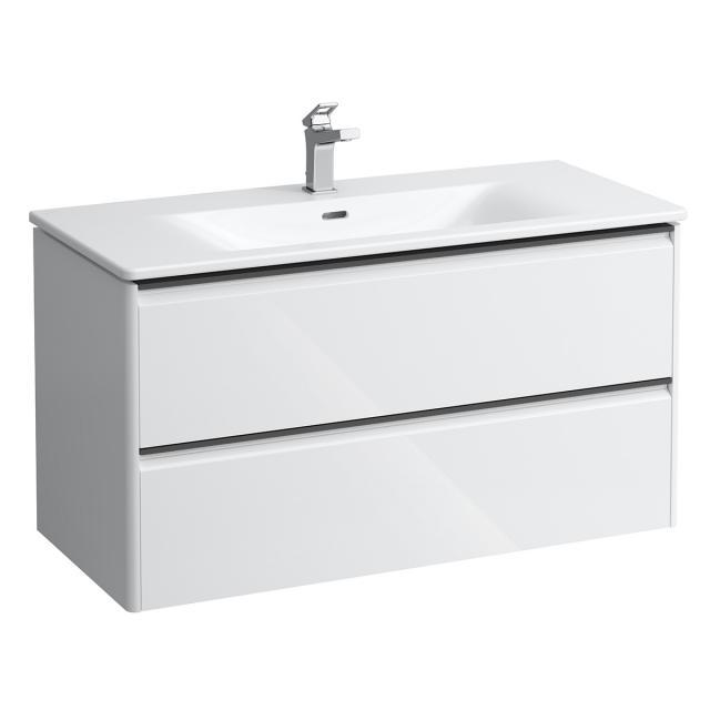 LAUFEN Palace Waschtisch mit Base Waschtischunterschrank mit 2 Auszügen Front weiß glanz / Korpus weiß glanz, Griffleiste schwarz