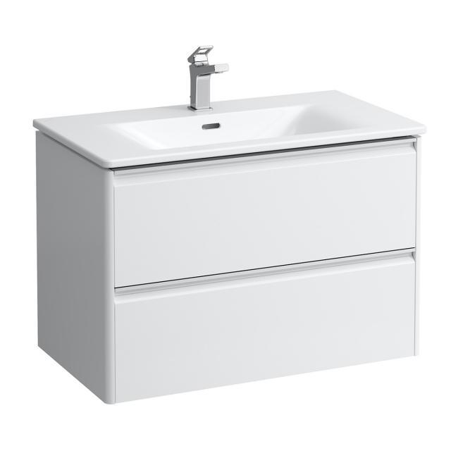 LAUFEN Palace Waschtisch mit Base Waschtischunterschrank mit 2 Auszügen Front weiß matt / Korpus weiß matt, Griffleiste silber eloxiert