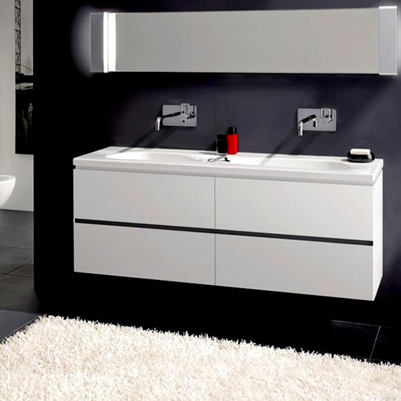 LAUFEN Palomba Waschtischunterschrank für Doppelwaschtisch mit 4 Auszügen Front weiß / Korpus weiß