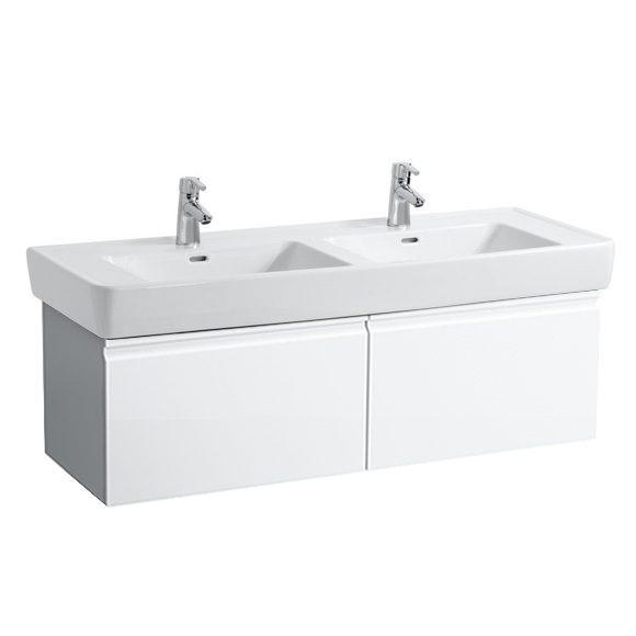 Laufen Pro A Waschtischunterschrank für Doppelwaschtisch mit 2 Auszügen Front weiß matt / Korpus weiß matt, ohne Innenschublade