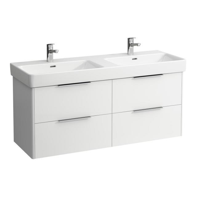 LAUFEN Pro S Doppelwaschtisch mit Base Waschtischunterschrank mit 4 Auszügen Front weiß glanz / Korpus weiß glanz, WT weiß, mit Clean Coat, mit 2 Hahnlöchern