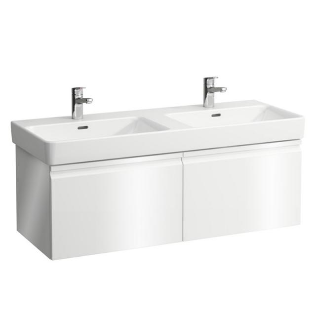 LAUFEN Pro S Doppelwaschtisch mit Waschtischunterschrank mit 2 Auszügen weiß, mit Clean Coat, mit 2 Hahnlöchern