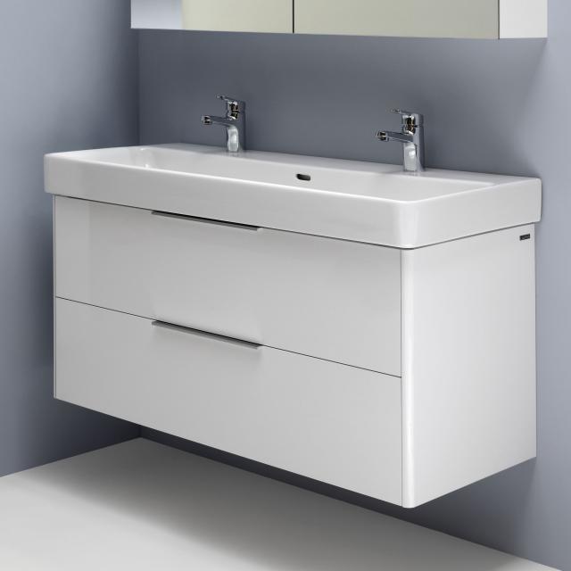 Laufen Pro S Doppelwaschtisch mit Waschtischunterschrank mit 2 Auszügen Front weiß glanz / Korpus weiß glanz, WT weiß, mit Clean Coat, mit 2 Hahnlöchern, mit Überlauf