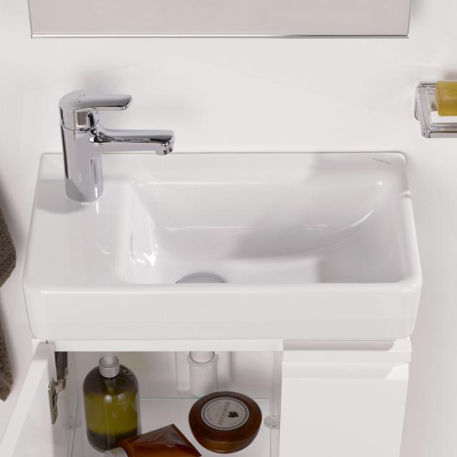 LAUFEN Pro S Handwaschbecken, asymmetrisch weiß, mit 1 Hahnloch