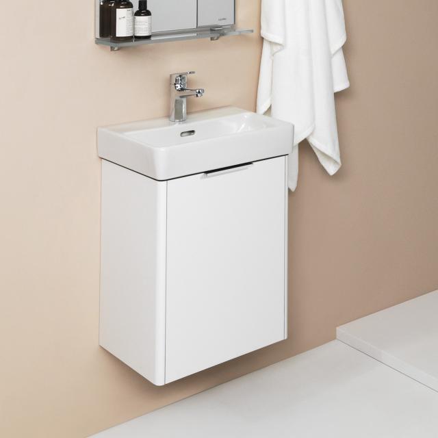 LAUFEN Pro S Handwaschbecken mit Base Waschtischunterschrank mit 1 Tür Front weiß glanz / Korpus weiß glanz, WT weiß, mit Clean Coat, mit 1 Hahnloch, mit Überlauf