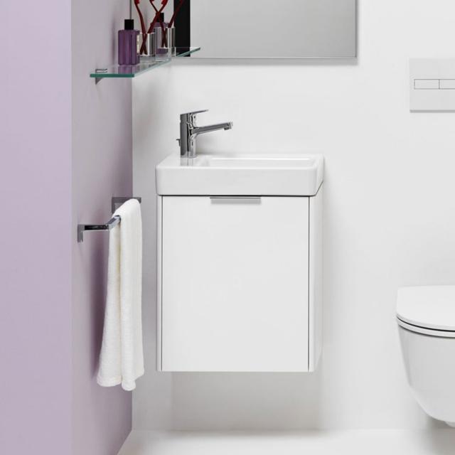 LAUFEN Pro S Handwaschbecken mit Base Waschtischunterschrank mit 1 Tür Front weiß glanz / Korpus weiß glanz, WT weiß, mit 1 Hahnloch