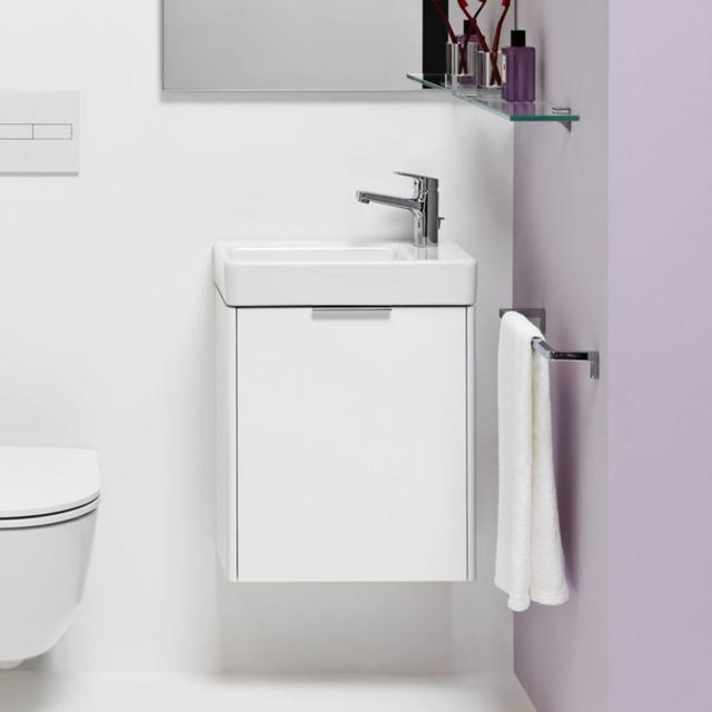 LAUFEN Pro S Handwaschbecken mit Base Waschtischunterschrank mit 1 Tür Front weiß matt / Korpus weiß matt, WT weiß, mit Clean Coat, mit 1 Hahnloch