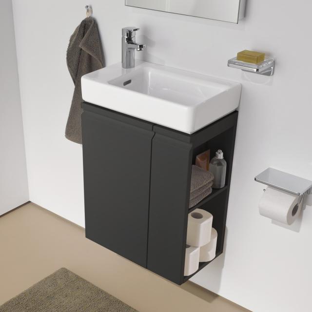 LAUFEN Pro S Handwaschbecken mit Waschtischunterschrank mit 1 Tür Front graphit / Korpus graphit, WT weiß, mit Clean Coat, mit 1 Hahnloch
