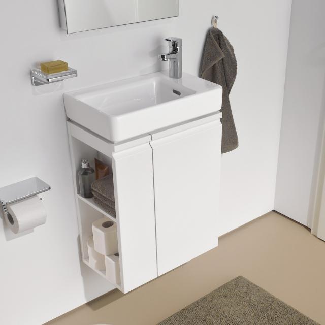 LAUFEN Pro S Handwaschbecken mit Waschtischunterschrank mit 1 Tür Front weiß matt / Korpus weiß matt, WT weiß, mit 1 Hahnloch