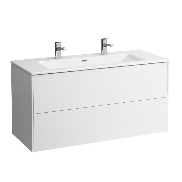 LAUFEN Pro S Waschtisch mit Base Waschtischunterschrank mit 2 Auszügen Front weiß glanz / Korpus weiß glanz, 2 Hahnlöcher