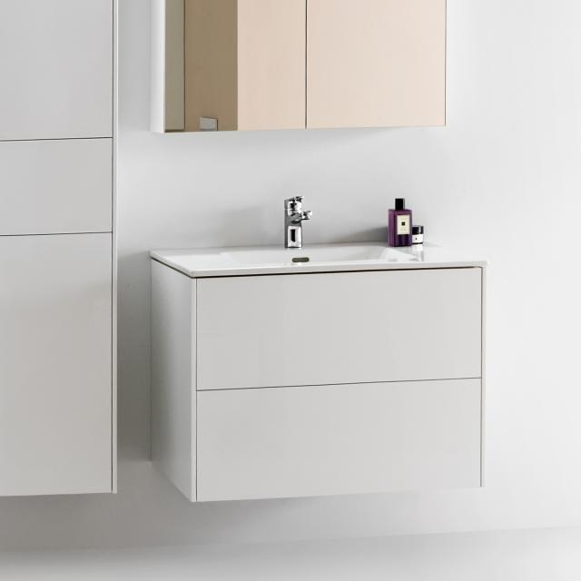 LAUFEN Pro S Waschtisch mit Base Waschtischunterschrank mit 2 Auszügen Front weiß matt / Korpus weiß matt, 1 Hahnloch