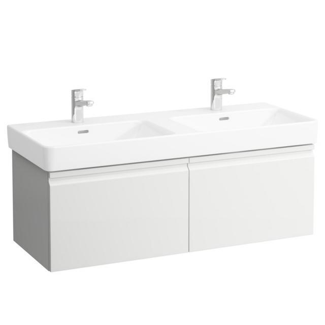 LAUFEN Pro S Waschtischunterschrank für Doppelwaschtisch mit 2 Auszügen Front weiß matt / Korpus weiß matt, ohne Innenschubladen