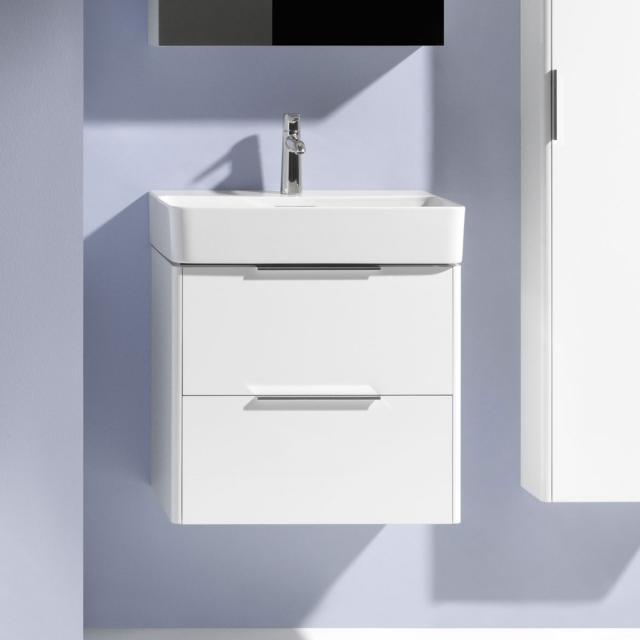 LAUFEN Pro S Waschtisch mit Base Waschtischunterschrank mit 2 Auszügen Front weiß glanz / Korpus weiß glanz, WT weiß, mit Clean Coat, mit 1 Hahnloch, mit Überlauf