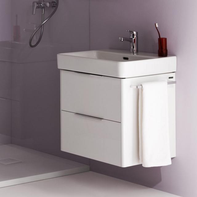 LAUFEN Pro S Waschtisch mit Base Waschtischunterschrank mit 2 Auszügen Front weiß matt / Korpus weiß matt, WT weiß, mit Clean Coat, mit 1 Hahnloch, mit Überlauf
