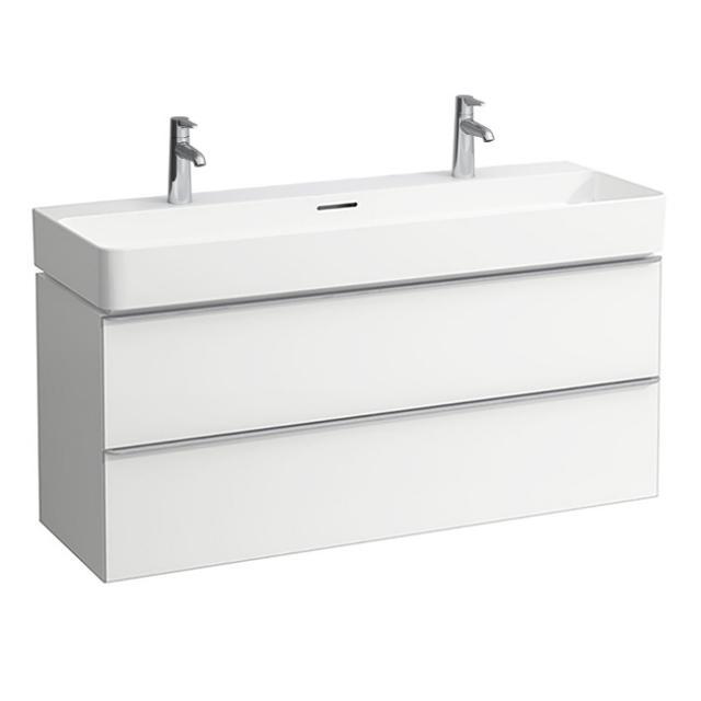 LAUFEN VAL Doppelwaschtisch mit Space Waschtischunterschrank mit 2 Auszügen Front weiß matt / Korpus weiß matt, WT weiß, mit Clean Coat, mit Überlauf