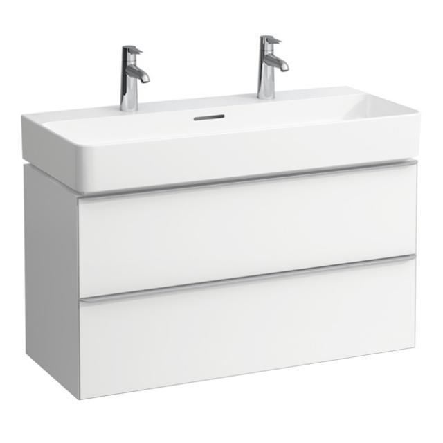 Laufen VAL Waschtisch mit Space Waschtischunterschrank mit 2 Auszügen weiß, mit Clean Coat, mit 2 Hahnlöchern, mit Überlauf