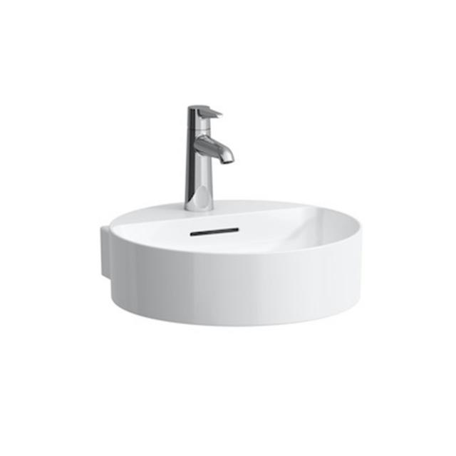 LAUFEN VAL Handwaschbecken weiß, mit Clean Coat, mit 1 Hahnloch, geschliffen, mit Überlauf