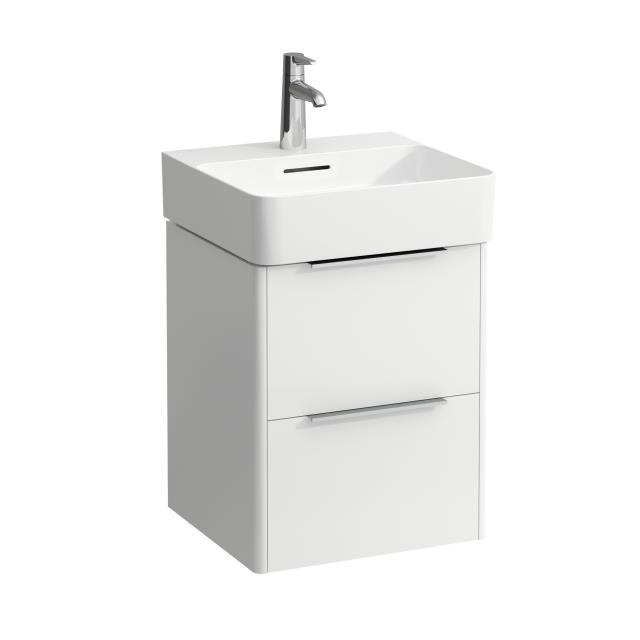 LAUFEN VAL Handwaschbecken mit Base Waschtischunterschrank mit 2 Auszügen Front weiß glanz / Korpus weiß glanz, WT weiß, mit Clean Coat, mit 1 Hahnloch, mit Überlauf