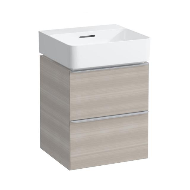 LAUFEN VAL Handwaschbecken mit Space Waschtischunterschrank mit 2 Auszügen Front nussbaum hell / Korpus nussbaum hell, WT weiß, ohne Hahnloch, mit Überlauf