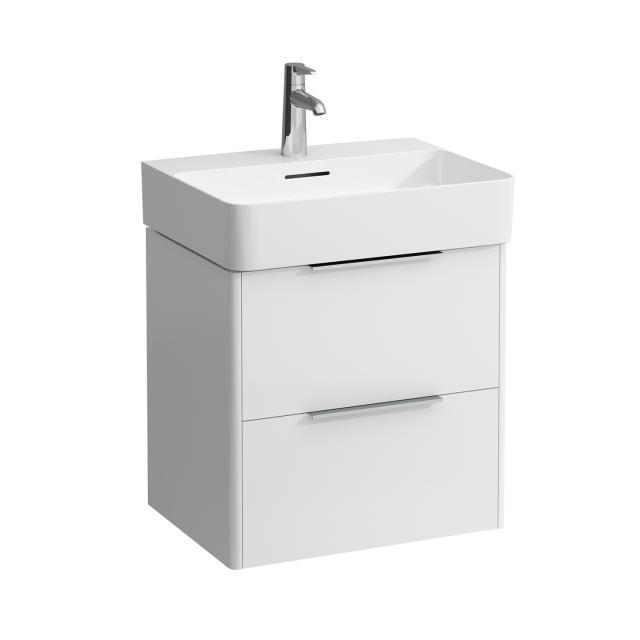 LAUFEN VAL Waschtisch mit Base Waschtischunterschrank mit 2 Auszügen Front weiß glanz / Korpus weiß glanz, WT weiß, mit 1 Hahnloch, mit Überlauf