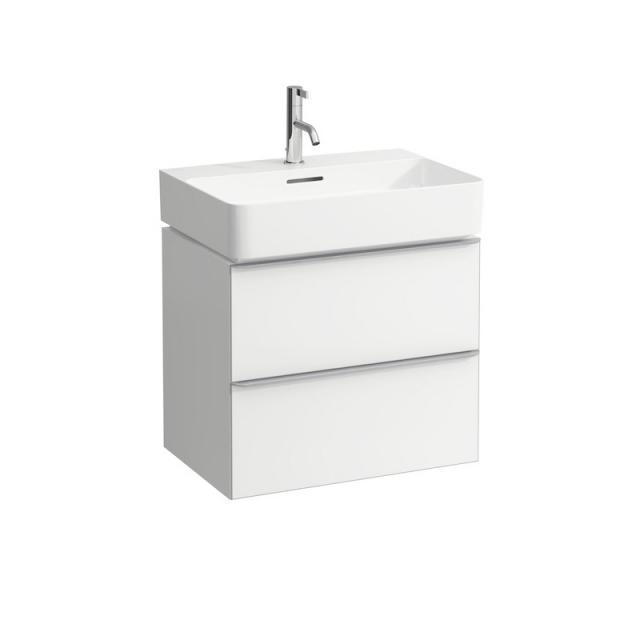 LAUFEN VAL Waschtisch mit Space Waschtischunterschrank mit 2 Auszügen Front weiß matt / Korpus weiß matt, WT weiß, mit Clean Coat, mit 1 Hahnloch, mit Überlauf