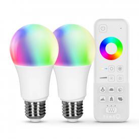 MÜLLER-LICHT tint Starter-Set LED white+color E27, Doppelpack mit Fernbedienung